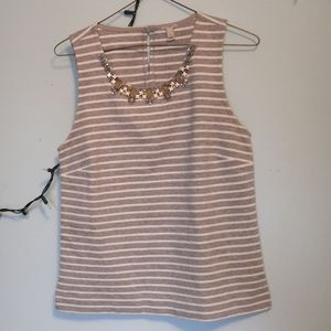 J. Crew striped jewel neck shell top
